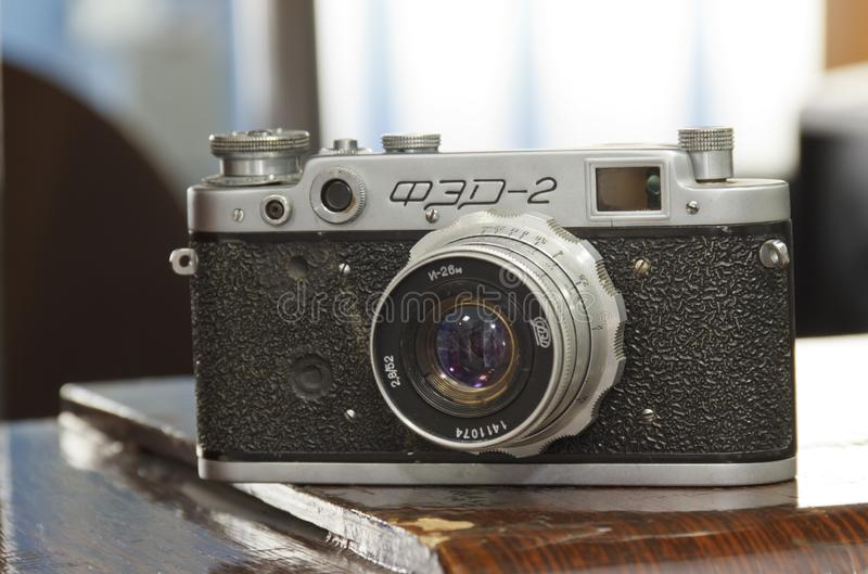 Russia, Krasnoyarsk, July 2019: The old Soviet rangefinder film camera FED stock photos