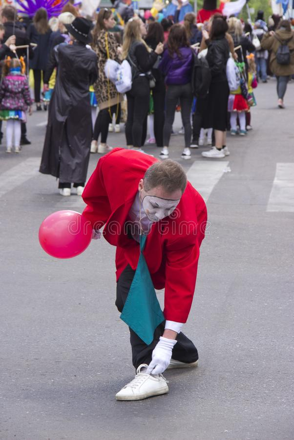 Russia, Krasnoyarsk, June 2019: a man in a clown costume at the festival stock image