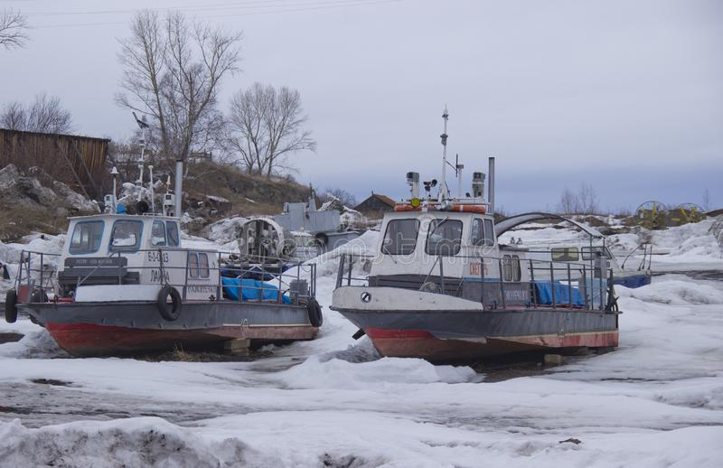 Winter Parking of river boats. stock photo