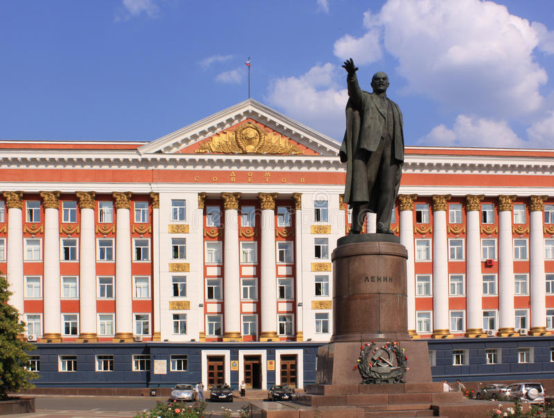 Russia. Kursk. Administration building and Linin monument stock image