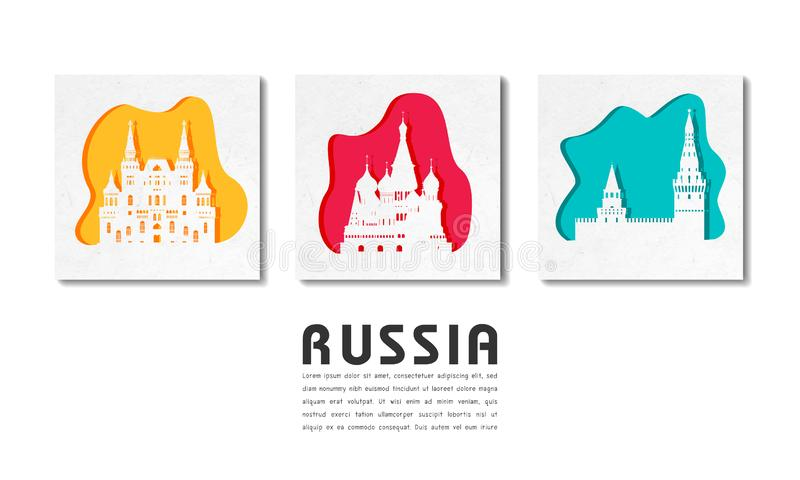 Russia Landmark Global Travel And Journey paper background. Vector Design Template.used for your advertisement, book, banner, vector illustration