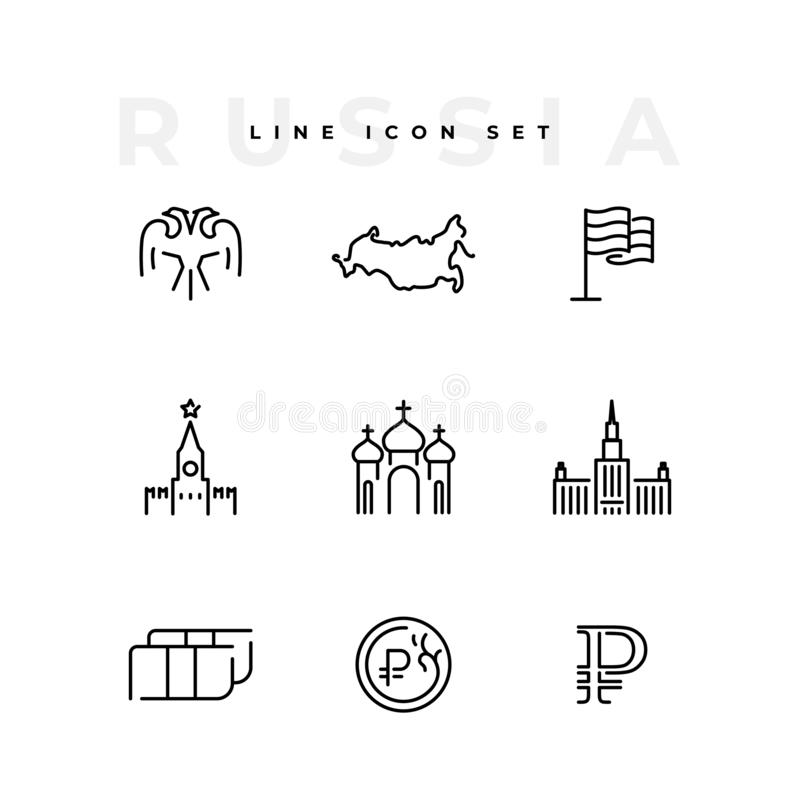 Russia line icon set business money isolated stock illustration