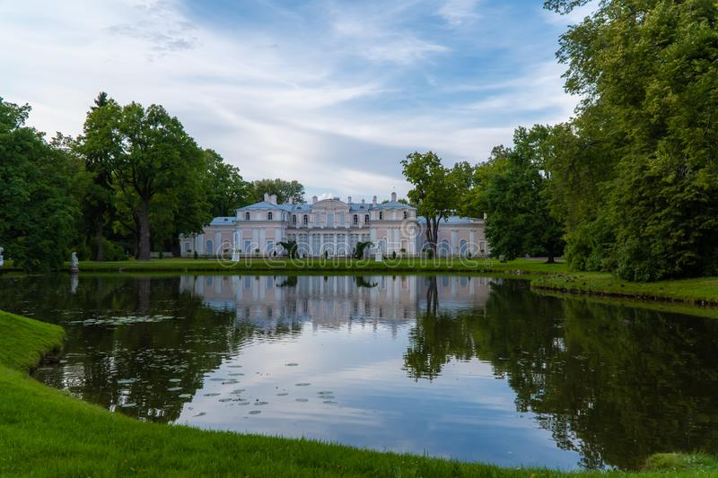 Museum of the Chinese Palace and the Chinese pond in the summer. Russia. Lomonosov. Museum of the Chinese Palace and the Chinese pond in the summer royalty free stock image
