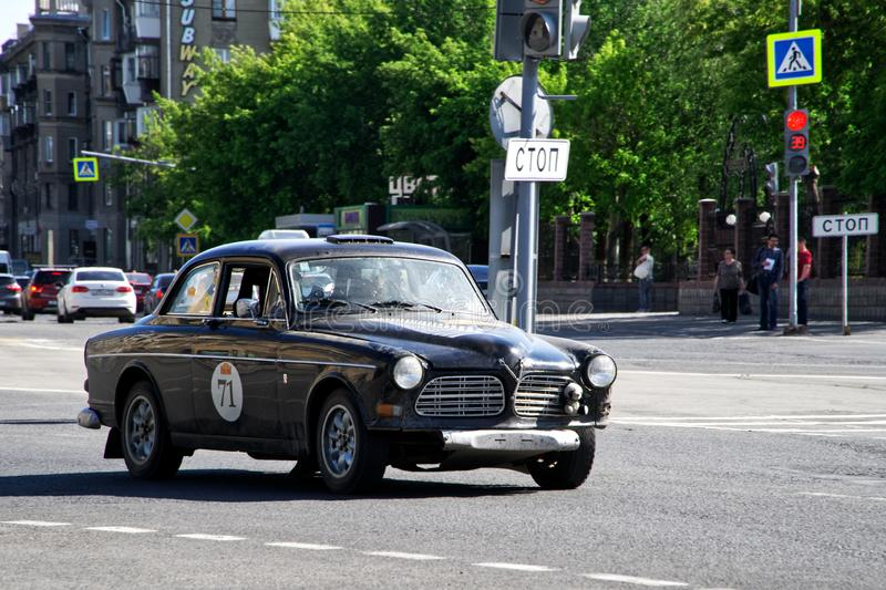 Russia, Magnitogorsk, - June, 20, 2019. Retro car Volvo Amazon 122S rides through the streets of the city stock photos