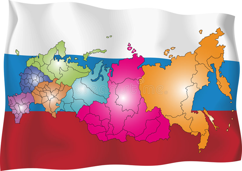 Russia map. Vector map of Russia on flag background. The Russia map has borders of areas and regions stock illustration