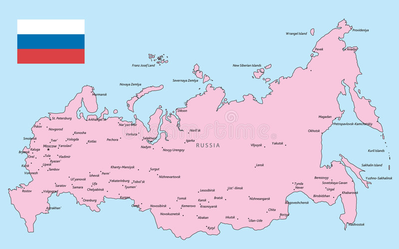 Russia map. Russia vector map with flag stock illustration