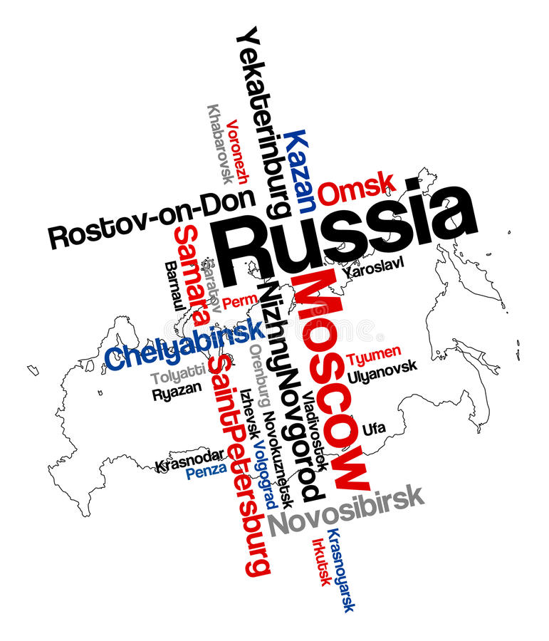 Russia map and cities. Russia map and words cloud with larger cities royalty free illustration