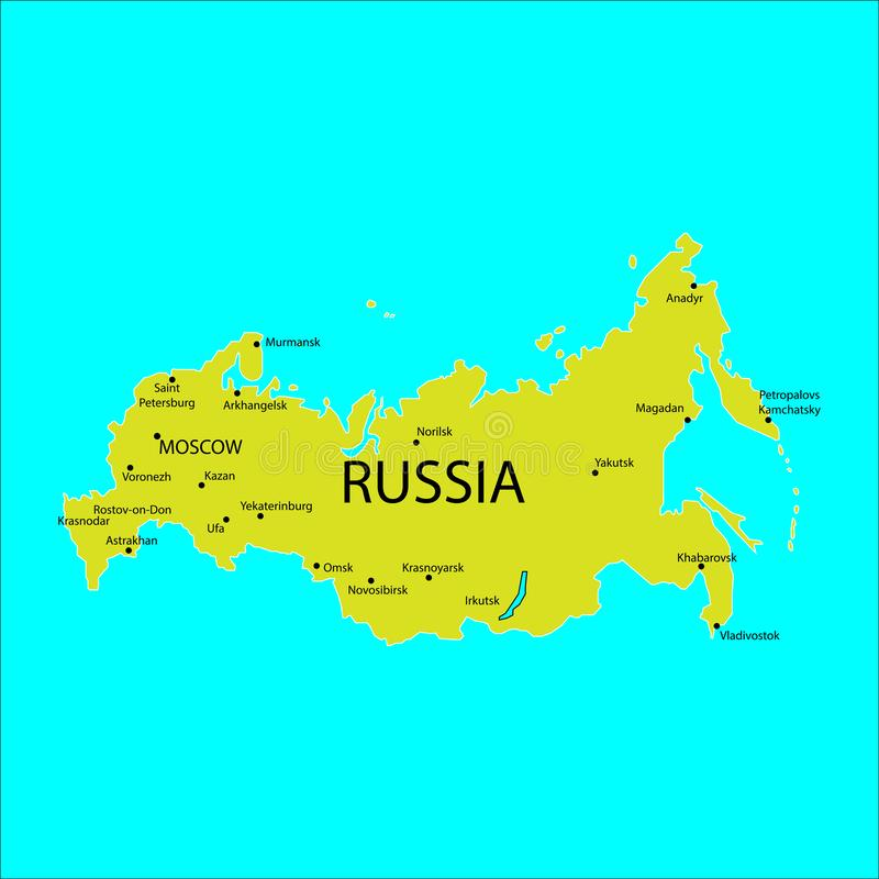 Russia map with cities sign. Eps ten vector illustration