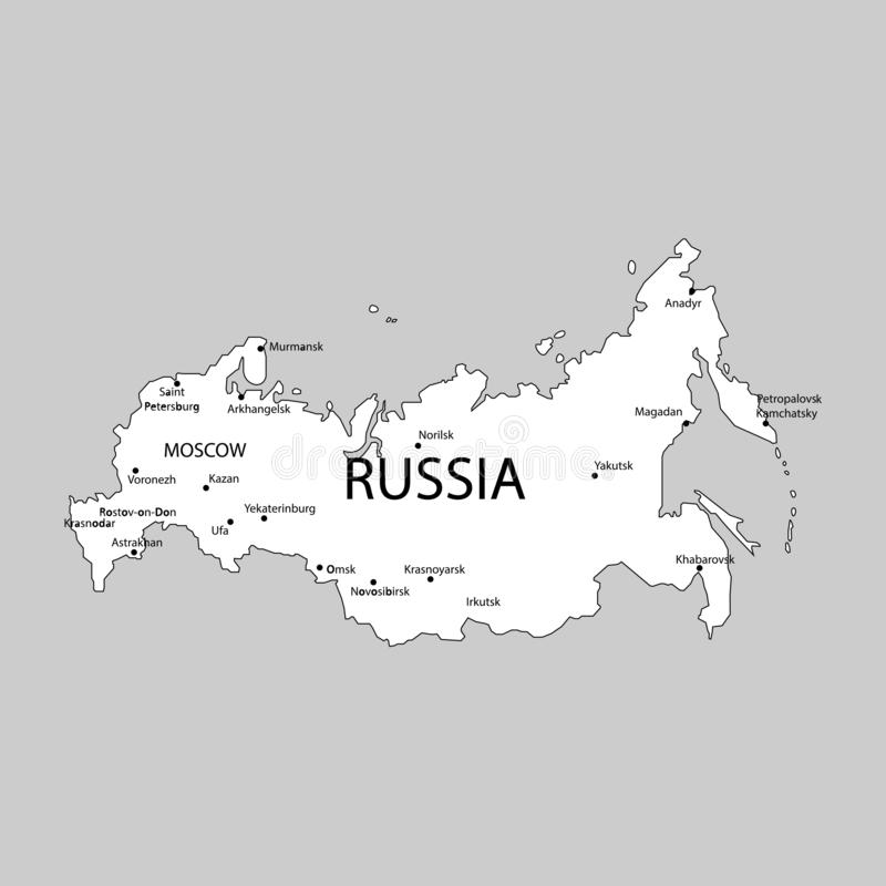 Russia map with cities sign. on a gray background. Eps ten vector illustration