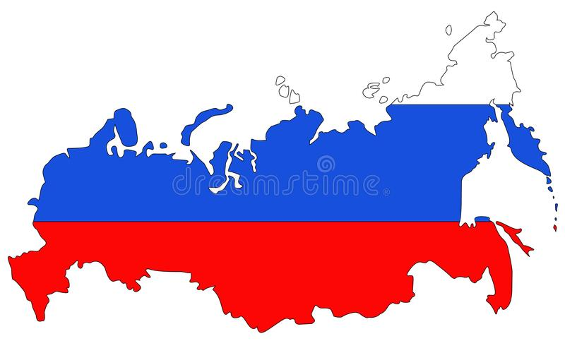 Russia map and flag - largest country in the world in Eurasia. Vector file of Russian Federation map and flag - largest country in the world in Eurasia stock illustration