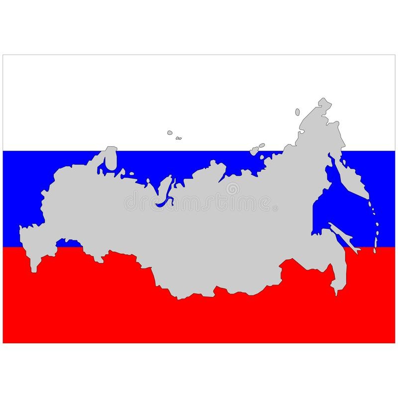 Russia map and flag sign. White blue and red sign. Eps ten stock illustration