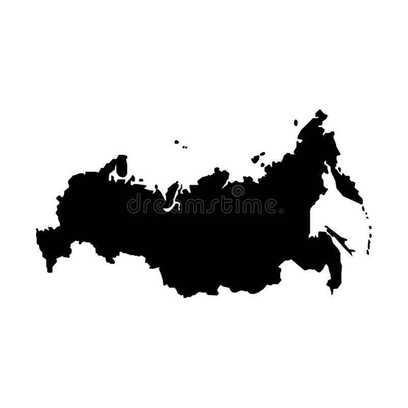 Russia map sign black color sign. Eps ten stock illustration