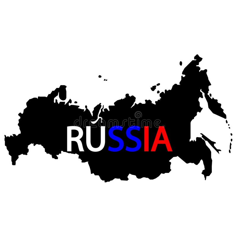 Russia map sign. The word Russia in English and the colors of the flag of Russia. Eps ten royalty free illustration