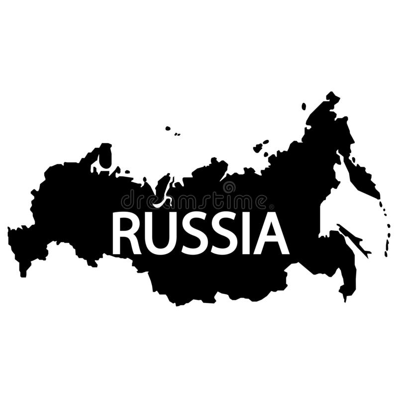 Russia map sign. The word Russia in English. Eps ten vector illustration