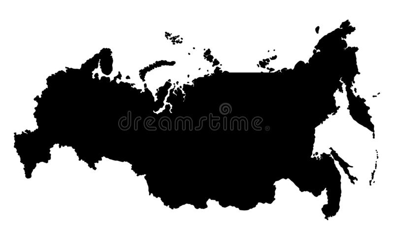 Russia map silhouette illustration. Russia map Russia map silhouette illustrationillustration isolated on white background royalty free illustration