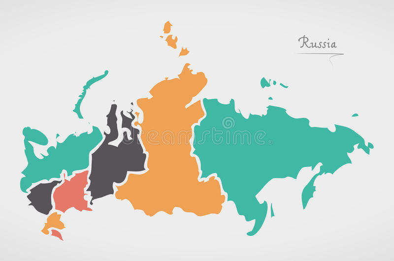 Russia Map with states and modern round shapes. Illustration stock illustration