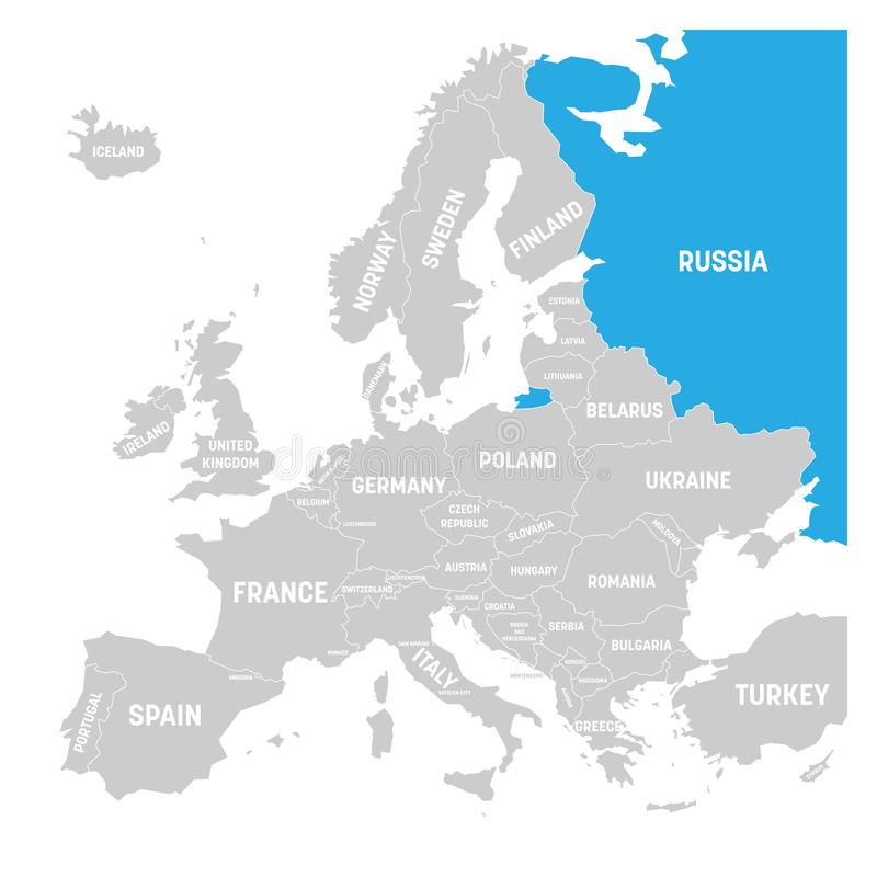 download russia marked by blue in grey political map of europe vector illustration stock vector