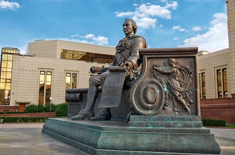 Russia. Monument to Ivan Shuvalov near the building of the Moscow State University library. 20 June 2016. stock photography