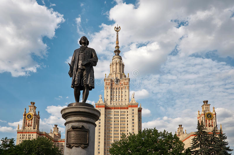 Russia. Monument to Mikhail Lomonosov near Moscow State University building on Vorobyovy Hills in Moscow. 20 June 2016. Russia. Moscow. Monument to Mikhail stock photos