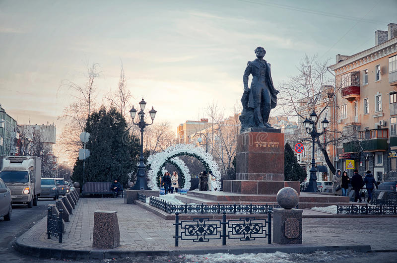 Russia. The monument to Pushkin on Pushkinskaya street Rostov-on-Don. 4 January 2017. royalty free stock images