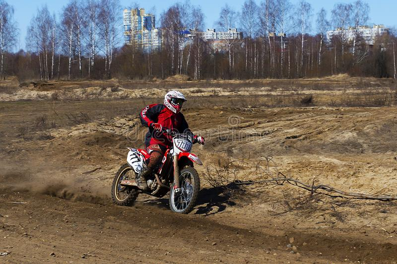 Russia, Moscow April 14, 2018, teenagers ride motorcycles, editorial royalty free stock photography