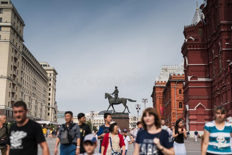 Russia, Moscow - August 2016: Marshal Zhukov Monument in Moscow at Red Square royalty free stock images