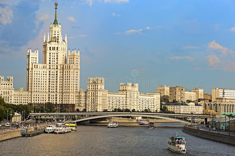 Russia, Moscow, August 4, 2018, Moscow river city view, editorial royalty free stock photo