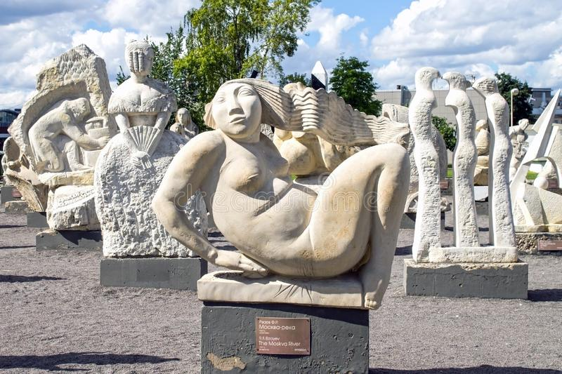 Russia, Moscow, Exhibition of stone sculptures in Park of arts. Russia, Moscow, August 16, 2016: Exhibition of stone sculptures in Park of arts, rest, russian royalty free stock images