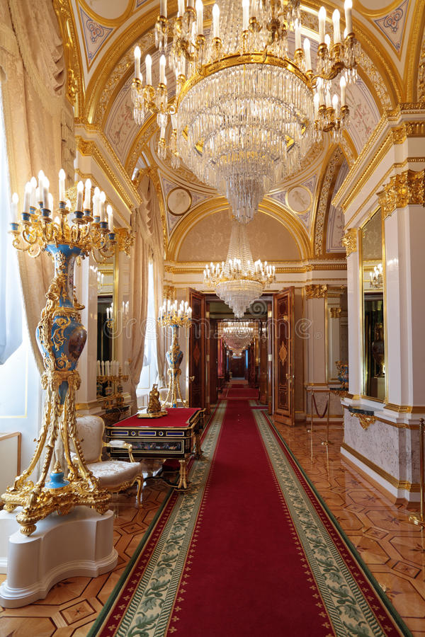 Grand Kremlin Palace enfilade. Russia, Moscow, Grand Kremlin Palace - historical old building built from 1837 to 1849, at the present time the ceremonial royalty free stock photos