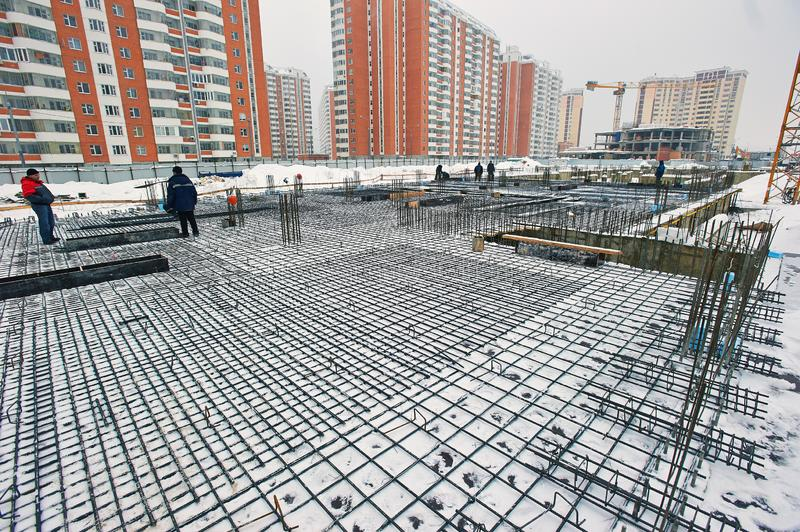 Russia, Moscow. January 30 ,2013 : building a house, laying the foundation stock photos