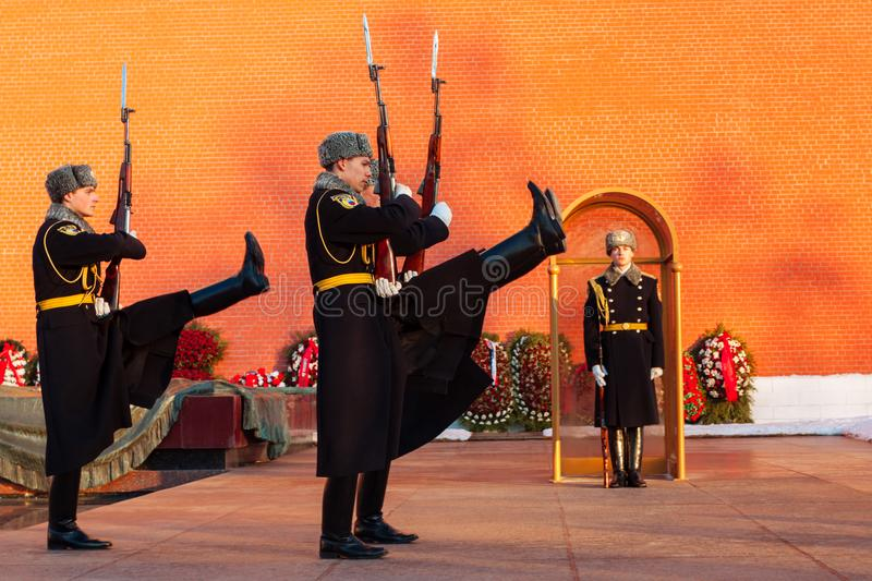 Russia, Moscow - January 03,2011: Guard of Honour at the tomb of the Unknown Soldier at the wall of Moscow Kremlin. Horizontally framed shot royalty free stock photos