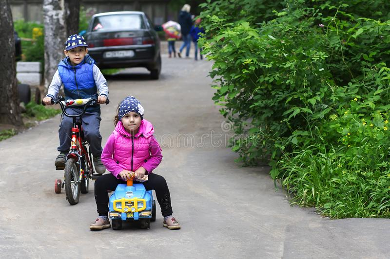 Russia,Moscow, 13 June 2018, children Cycling, editorial stock photo