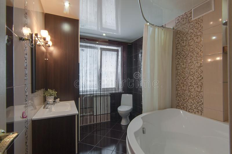 Russia, Moscow- June 13, 2018: interior room apartment. standard repair decoration in hostel. bathroom and toilet stock image