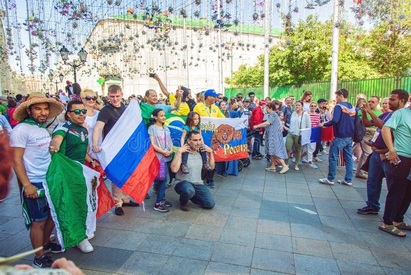 Mexican football fans on the Nikolskaya street stock image