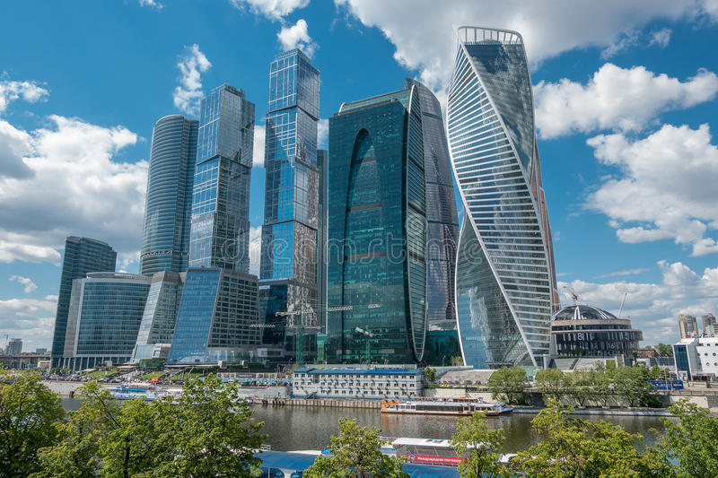 RUSSIA, MOSCOW, JUNE 7, 2017: Moscow City - Moscow International Business Center at day. royalty free stock image