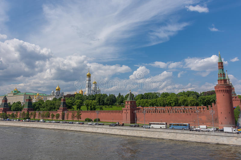 RUSSIA, MOSCOW, JUNE 8, 2017: View of embankments, Kremlin Towers. RUSSIA, MOSCOW, JUNE 8, 2017: View of embankments Kremlin Towers in Moscow stock photos