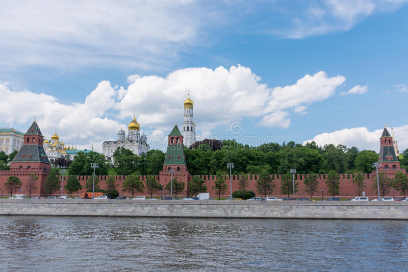 RUSSIA, MOSCOW, JUNE 8, 2017: View of embankments, Kremlin Towers in Moscow. Russia royalty free stock photography