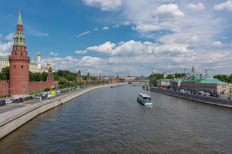 RUSSIA, MOSCOW, JUNE 8, 2017: View of embankments, Kremlin Towers in Moscow. Russia royalty free stock photo