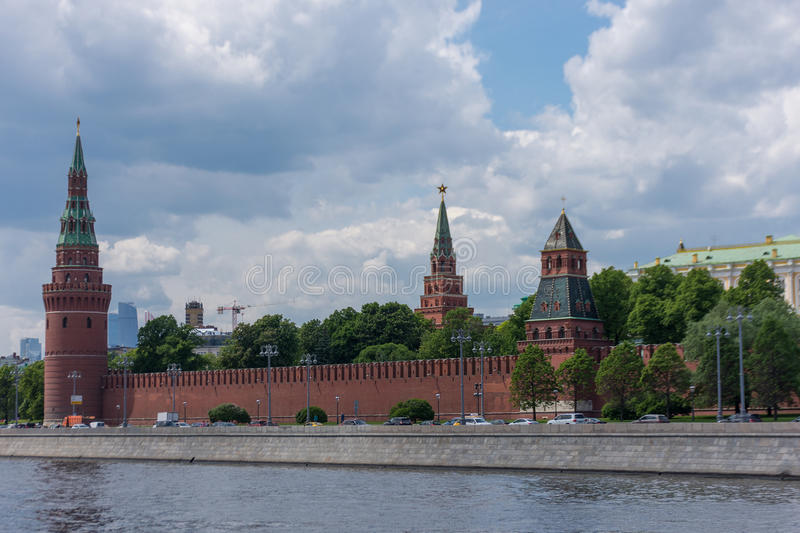 RUSSIA, MOSCOW, JUNE 8, 2017: View of embankments, Kremlin Towers in Moscow. View of embankments, Kremlin Towers in Moscow royalty free stock image
