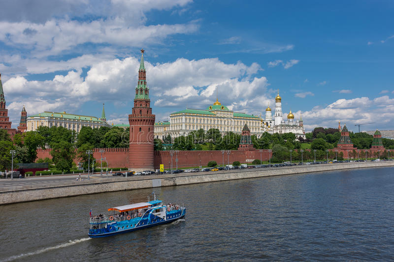 RUSSIA, MOSCOW, JUNE 8, 2017: View of embankments, Kremlin Towers in Moscow. View of embankments, Kremlin Towers in Moscow stock photography