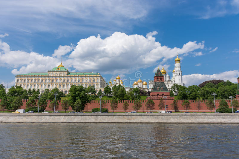 RUSSIA, MOSCOW, JUNE 8, 2017: View of embankments, Kremlin Towers in Moscow. View of embankments, Kremlin Towers in Moscow royalty free stock photo