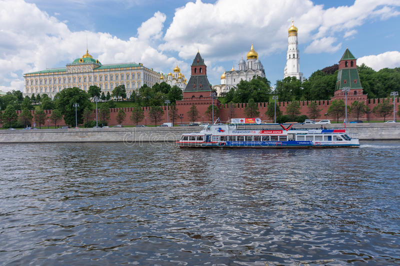 RUSSIA, MOSCOW, JUNE 8, 2017: View of embankments, Kremlin Towers in Moscow. View of embankments, Kremlin Towers in Moscow royalty free stock photography