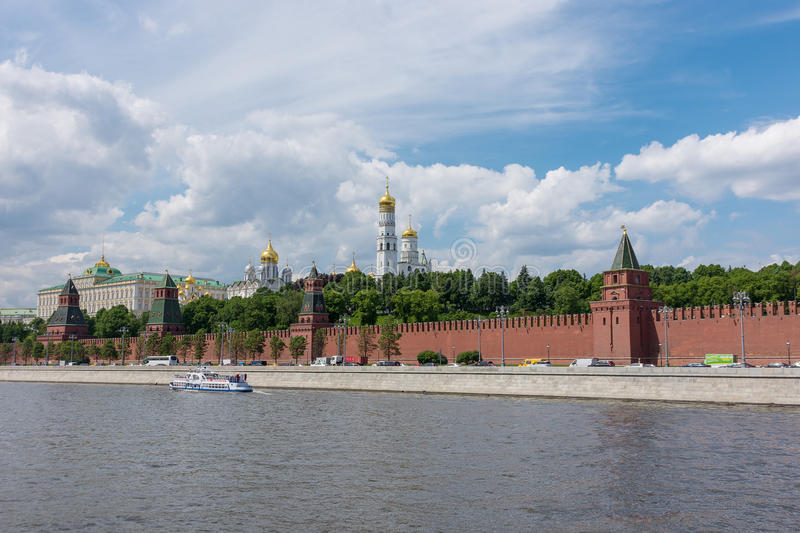 RUSSIA, MOSCOW, JUNE 8, 2017: View of embankments, Kremlin Towers in Moscow. Blue sky and cloud royalty free stock image