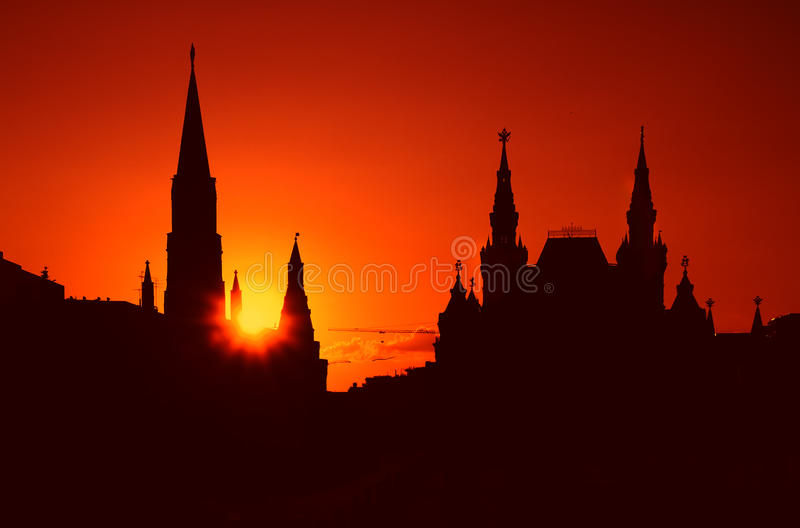 Russia Moscow Kremlin. Kremlin Red Square at sunset stock images