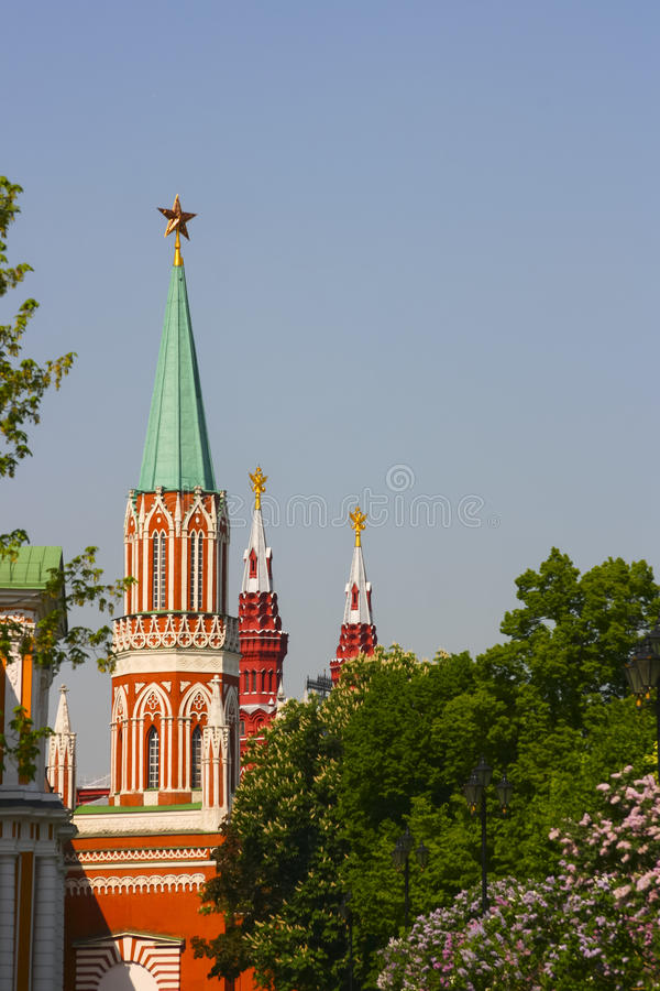 Russia, Moscow, Kremlin, the Kremlin towers spring. Blooming lil. Acs royalty free stock photos