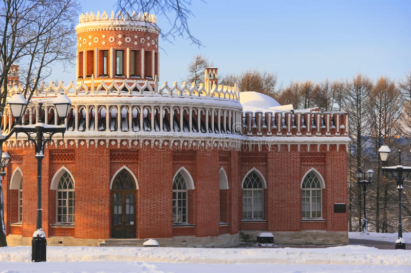 Russia, Moscow, Manor and park Tsaritsyno, winter, sunset, freezing weather. January. Bread House. Russia, Moscow, Manor and park Tsaritsyno in winter, sunset royalty free stock photography