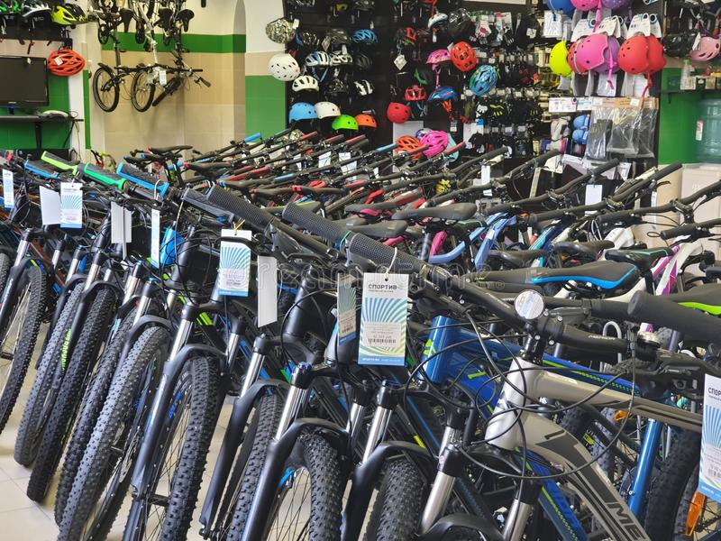 Russia, Moscow, May 2019. Bike store and cycling equipment stock photos
