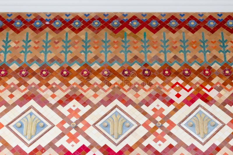 Russia, Moscow, Fragment of a wall decorated with a bright tile pattern. stock photos