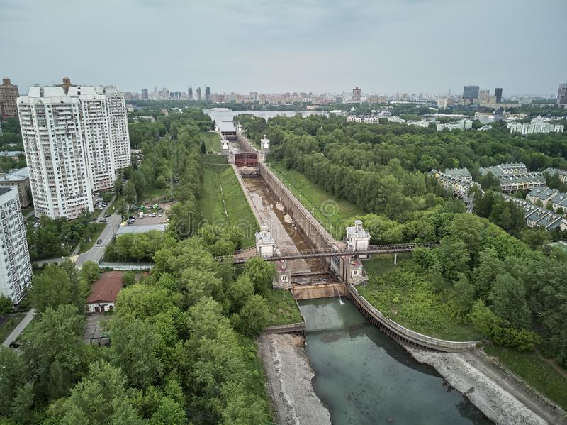 Russia, Moscow, May 2019 - Repairing of Sluice number 8 on the chanel Moscow-Volga, aerial drone view. Russia, Moscow, May 2019 - Repairing of Sluice number 8 on stock photos