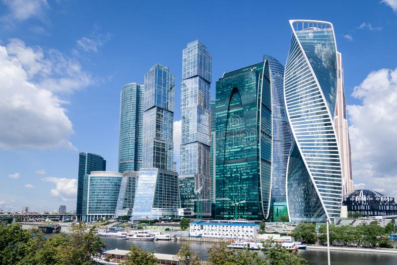 Russia Moscow 2019-06-17 Moscow City skyline. International Business Center, landscape with view of river and skyscrapers at day stock photos
